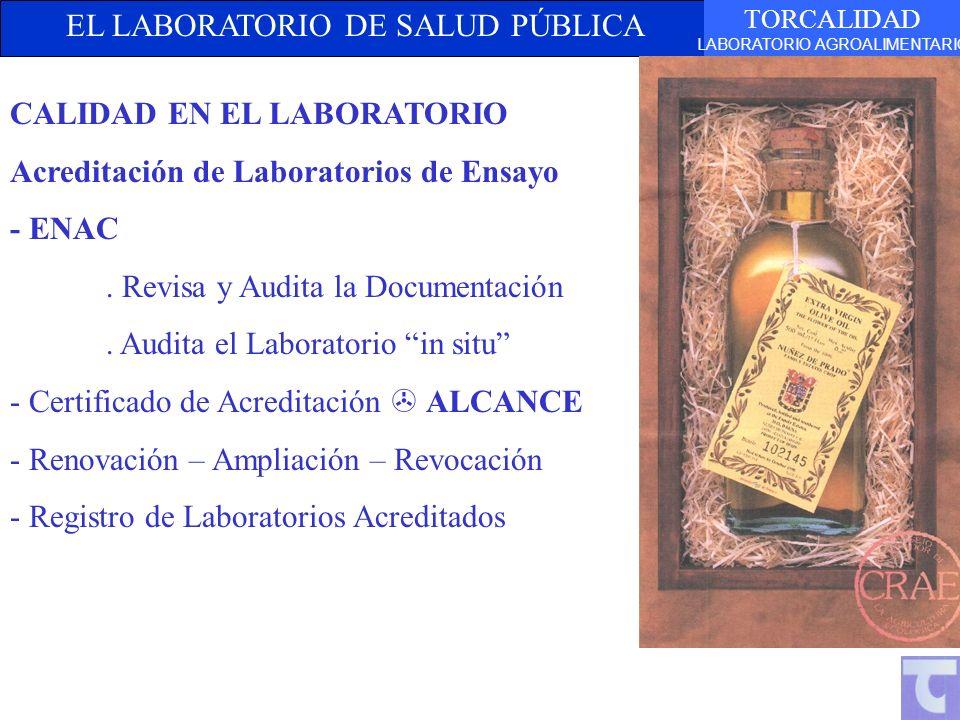 EL LABORATORIO DE SALUD PÚBLICA TORCALIDAD LABORATORIO AGROALIMENTARIO CALIDAD EN EL LABORATORIO Acreditación de Laboratorios de Ensayo - ENAC. Revisa