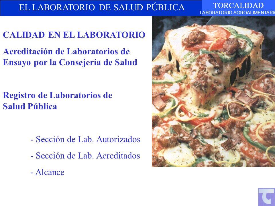 EL LABORATORIO DE SALUD PÚBLICA TORCALIDAD LABORATORIO AGROALIMENTARIO CALIDAD EN EL LABORATORIO Acreditación de Laboratorios de Ensayo por la Consejería de Salud Registro de Laboratorios de Salud Pública - Sección de Lab.