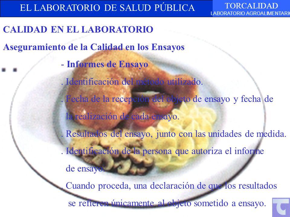EL LABORATORIO DE SALUD PÚBLICA TORCALIDAD LABORATORIO AGROALIMENTARIO TEXTO CALIDAD EN EL LABORATORIO Aseguramiento de la Calidad en los Ensayos - In