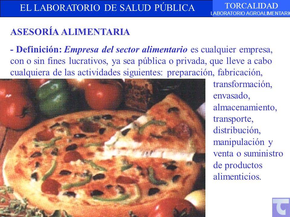 EL LABORATORIO DE SALUD PÚBLICA TORCALIDAD LABORATORIO AGROALIMENTARIO ASESORÍA ALIMENTARIA - Definición: Empresa del sector alimentario es cualquier
