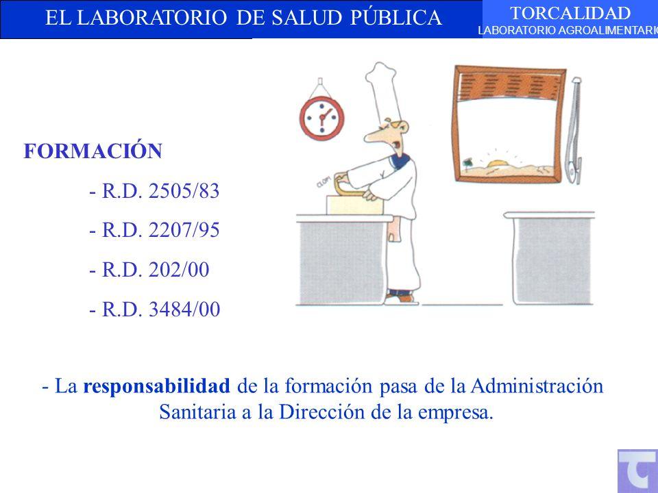 EL LABORATORIO DE SALUD PÚBLICA TORCALIDAD LABORATORIO AGROALIMENTARIO FORMACIÓN - R.D. 2505/83 - R.D. 2207/95 - R.D. 202/00 - R.D. 3484/00 - La respo
