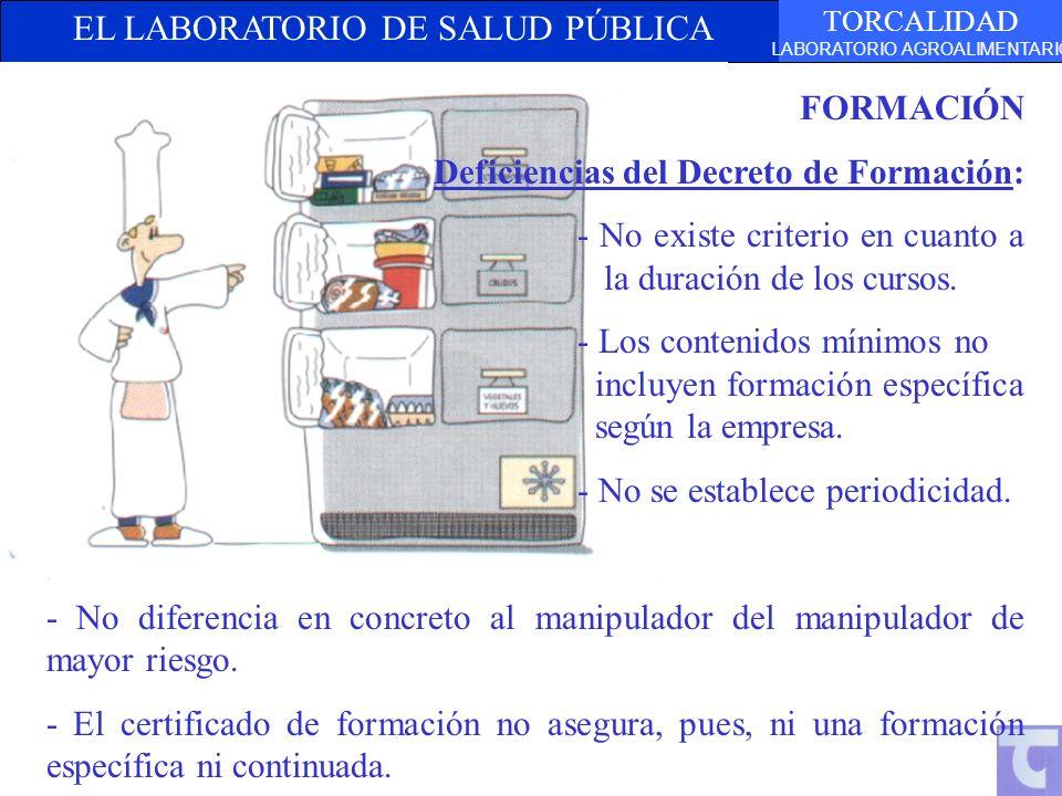 EL LABORATORIO DE SALUD PÚBLICA TORCALIDAD LABORATORIO AGROALIMENTARIO FORMACIÓN Deficiencias del Decreto de Formación: - No existe criterio en cuanto a la duración de los cursos.