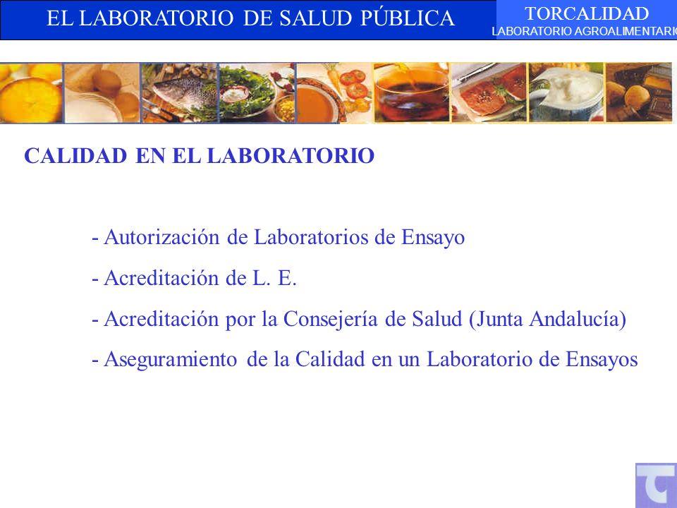 EL LABORATORIO DE SALUD PÚBLICA TORCALIDAD LABORATORIO AGROALIMENTARIO CALIDAD EN EL LABORATORIO - Autorización de Laboratorios de Ensayo - Acreditación de L.