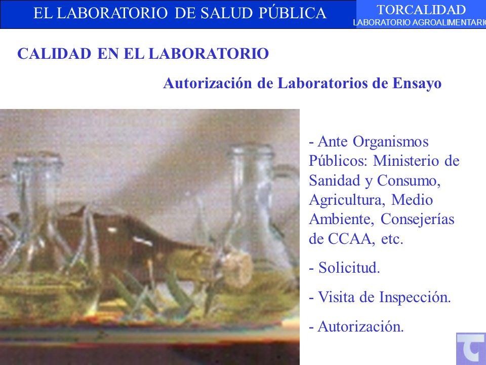 EL LABORATORIO DE SALUD PÚBLICA TORCALIDAD LABORATORIO AGROALIMENTARIO CALIDAD EN EL LABORATORIO Autorización de Laboratorios de Ensayo - Ante Organis