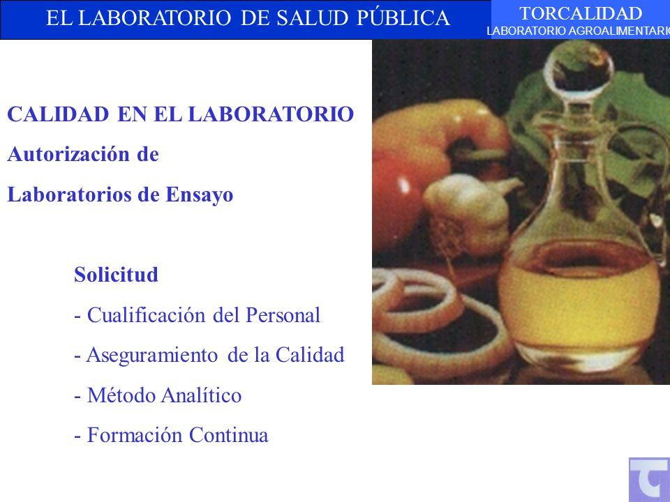 EL LABORATORIO DE SALUD PÚBLICA TORCALIDAD LABORATORIO AGROALIMENTARIO CALIDAD EN EL LABORATORIO Autorización de Laboratorios de Ensayo Solicitud - Cu