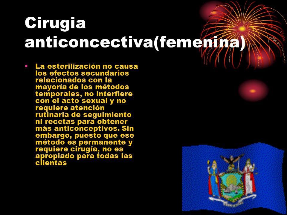 Cirugia anticoncectiva(femenina) La esterilización no causa los efectos secundarios relacionados con la mayoría de los métodos temporales, no interfie