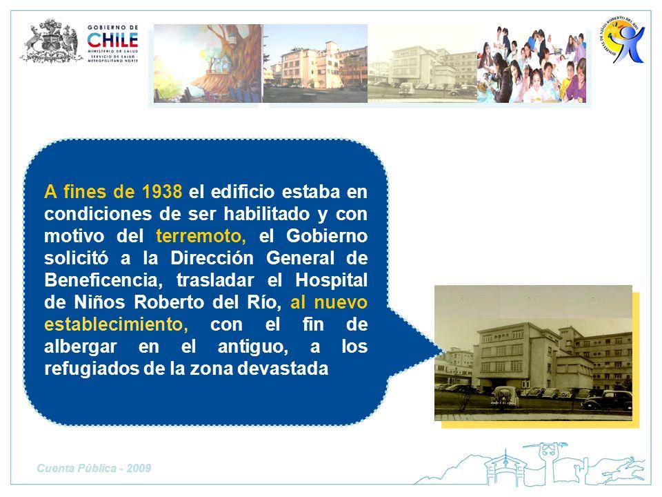 A fines de 1938 el edificio estaba en condiciones de ser habilitado y con motivo del terremoto, el Gobierno solicitó a la Dirección General de Benefic