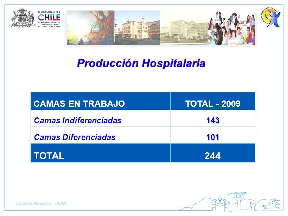 CAMAS EN TRABAJOTOTAL - 2009 Camas Indiferenciadas143 Camas Diferenciadas101 TOTAL244 Producción Hospitalaria Cuenta Pública - 2009