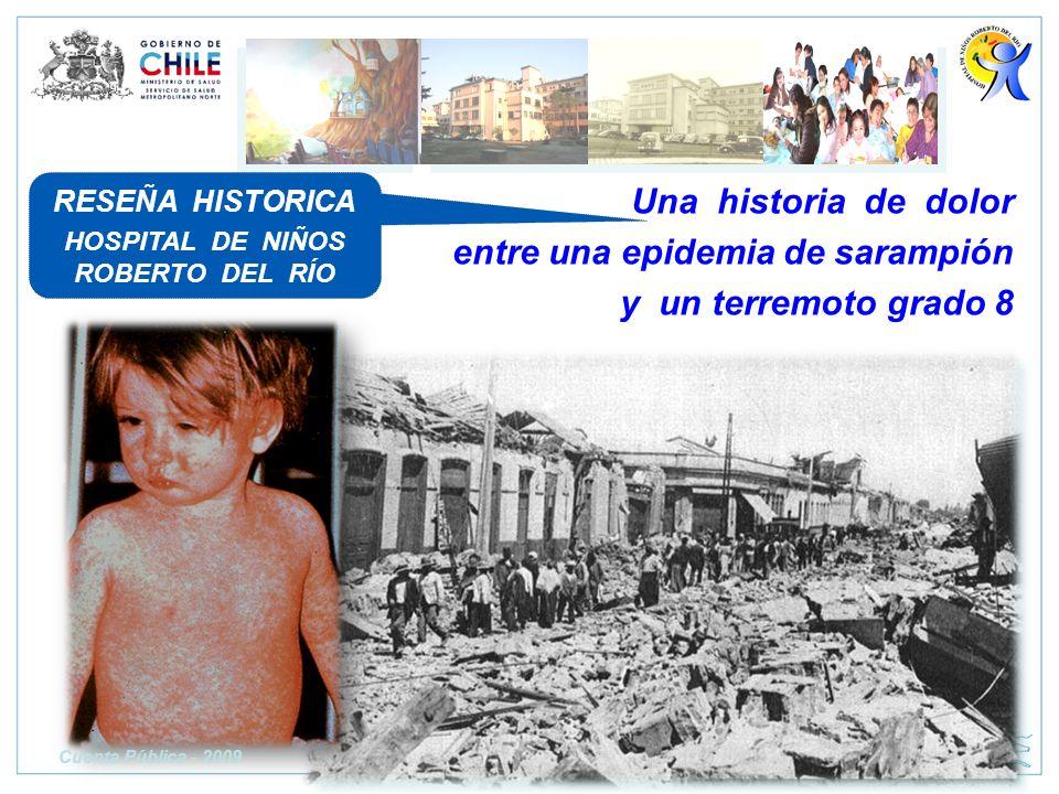 Una historia de dolor entre una epidemia de sarampión y un terremoto grado 8 RESEÑA HISTORICA HOSPITAL DE NIÑOS ROBERTO DEL RÍO Cuenta Pública - 2009