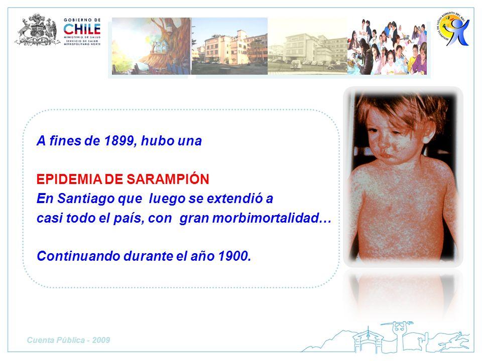 A fines de 1899, hubo una EPIDEMIA DE SARAMPIÓN En Santiago que luego se extendió a casi todo el país, con gran morbimortalidad… Continuando durante e