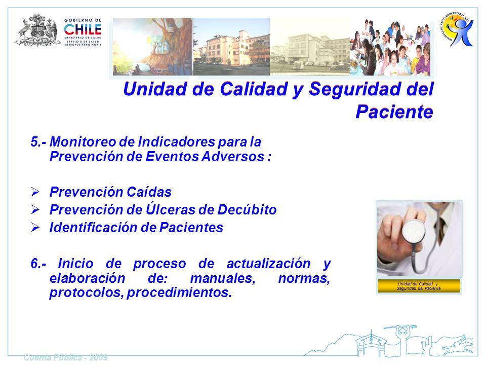 Unidad de Calidad y Seguridad del Paciente 5.- Monitoreo de Indicadores para la Prevención de Eventos Adversos : Prevención Caídas Prevención de Úlcer