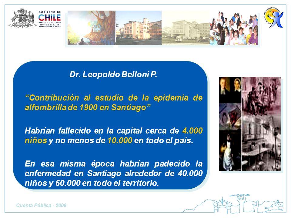 Dr. Leopoldo Belloni P. Contribución al estudio de la epidemia de alfombrilla de 1900 en Santiago Habrían fallecido en la capital cerca de 4.000 niños