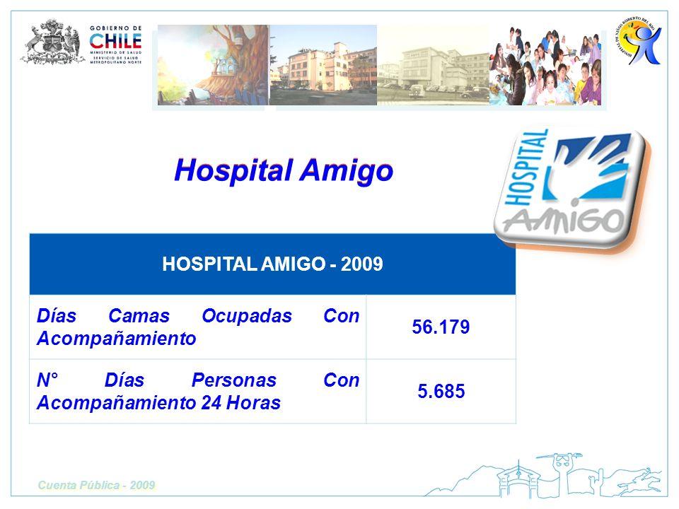 Hospital Amigo Cuenta Pública - 2009 HOSPITAL AMIGO - 2009 Días Camas Ocupadas Con Acompañamiento 56.179 N° Días Personas Con Acompañamiento 24 Horas