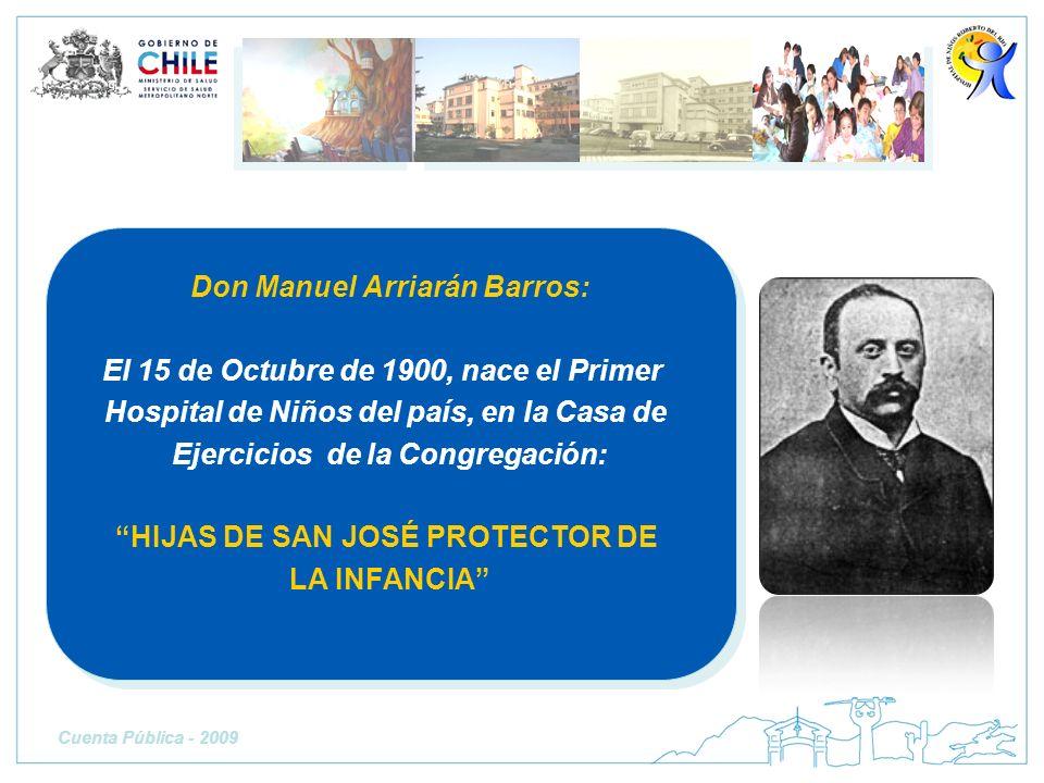 Cuenta Pública - 2009 Don Manuel Arriarán Barros: El 15 de Octubre de 1900, nace el Primer Hospital de Niños del país, en la Casa de Ejercicios de la