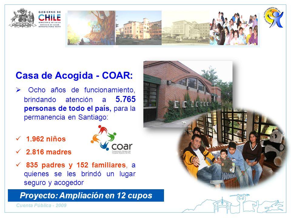 Casa de Acogida - COAR: Ocho años de funcionamiento, brindando atención a 5.765 personas de todo el país, para la permanencia en Santiago: 1.962 niños
