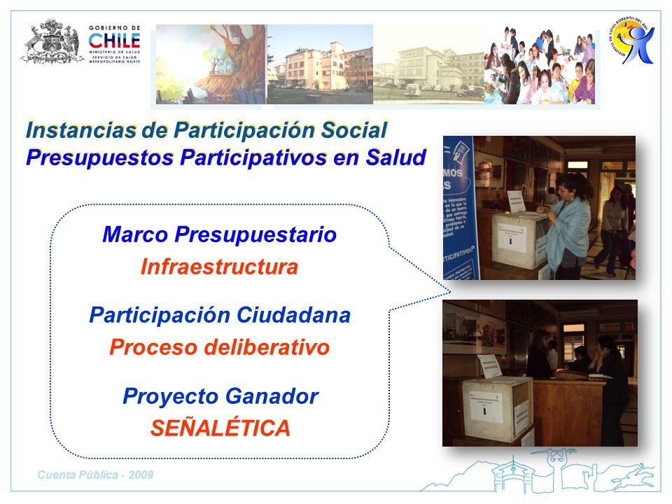 Instancias de Participación Social Presupuestos Participativos en Salud Marco Presupuestario Infraestructura Participación Ciudadana Proceso deliberat