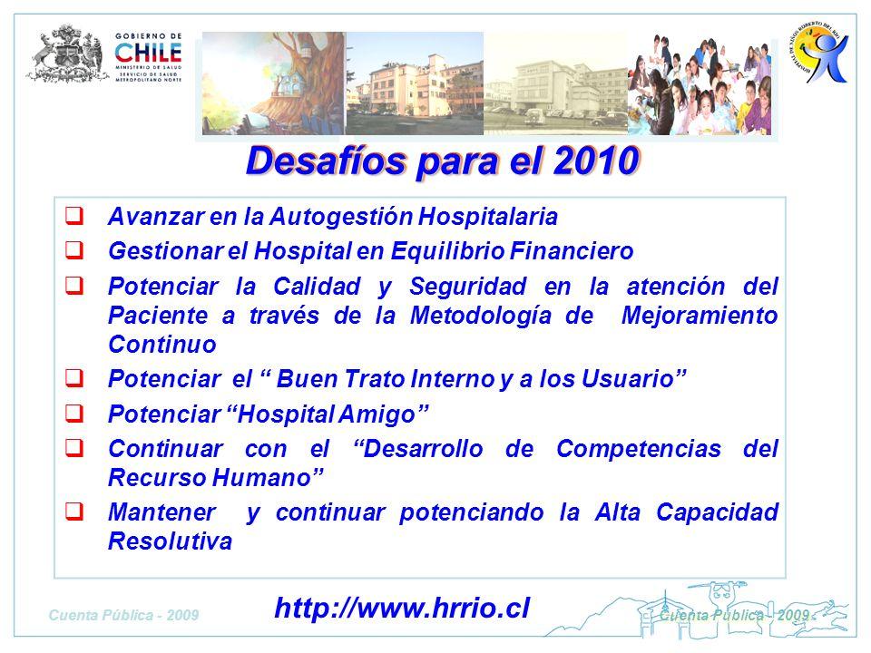 Desafíos para el 2010 Avanzar en la Autogestión Hospitalaria Gestionar el Hospital en Equilibrio Financiero Potenciar la Calidad y Seguridad en la ate