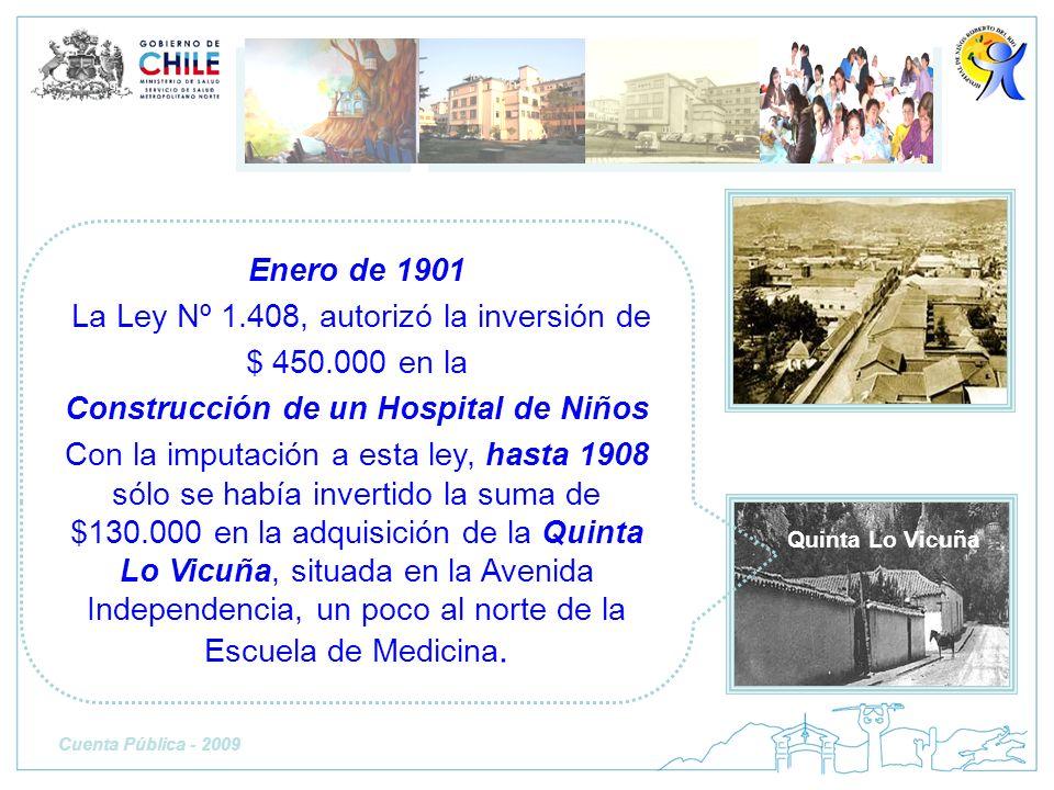 Enero de 1901 La Ley Nº 1.408, autorizó la inversión de $ 450.000 en la Construcción de un Hospital de Niños Con la imputación a esta ley, hasta 1908