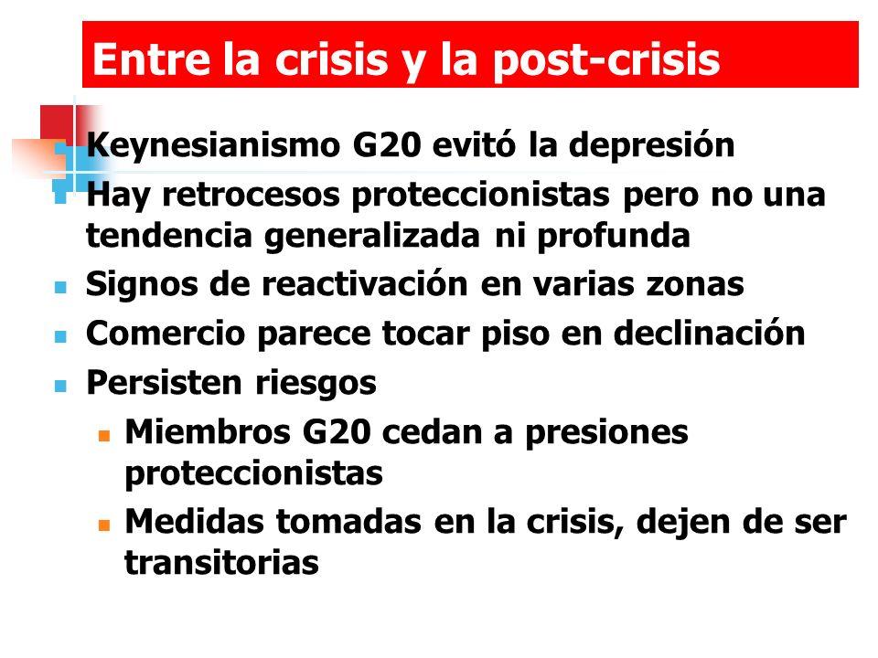 Entre la crisis y la post-crisis Keynesianismo G20 evitó la depresión Hay retrocesos proteccionistas pero no una tendencia generalizada ni profunda Signos de reactivación en varias zonas Comercio parece tocar piso en declinación Persisten riesgos Miembros G20 cedan a presiones proteccionistas Medidas tomadas en la crisis, dejen de ser transitorias