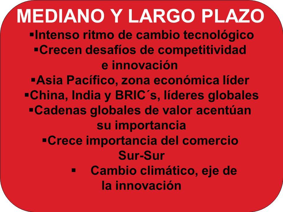 MEDIANO Y LARGO PLAZO Intenso ritmo de cambio tecnológico Crecen desafíos de competitividad e innovación Asia Pacífico, zona económica líder China, India y BRIC´s, líderes globales Cadenas globales de valor acentúan su importancia Crece importancia del comercio Sur-Sur Cambio climático, eje de la innovación