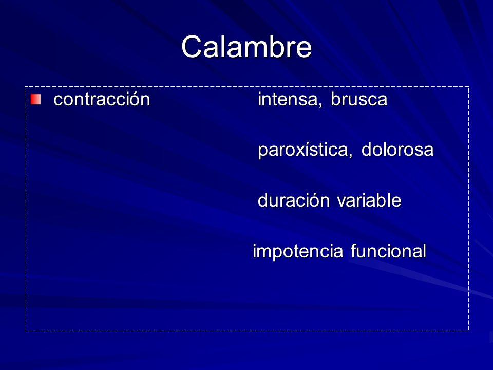 Calambre contracción intensa, brusca contracción intensa, brusca paroxística, dolorosa paroxística, dolorosa duración variable duración variable impot