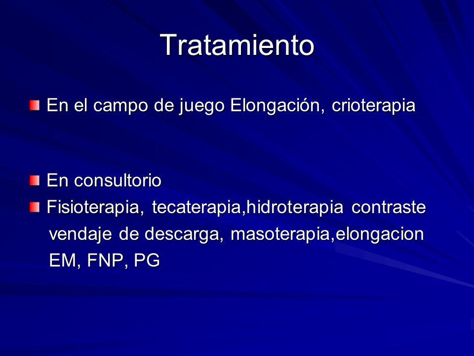 Tratamiento En el campo de juego Elongación, crioterapia En consultorio Fisioterapia, tecaterapia,hidroterapia contraste vendaje de descarga, masotera