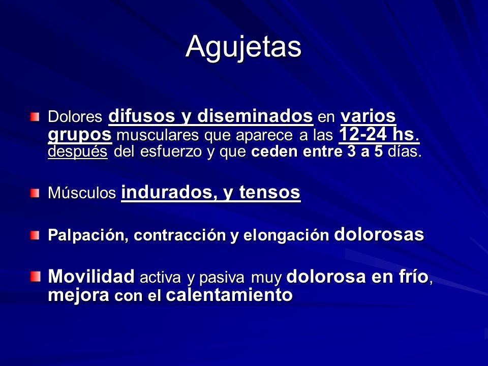 Agujetas Dolores difusos y diseminados en varios grupos musculares que aparece a las 12-24 hs. después del esfuerzo y que ceden entre 3 a 5 días. Músc