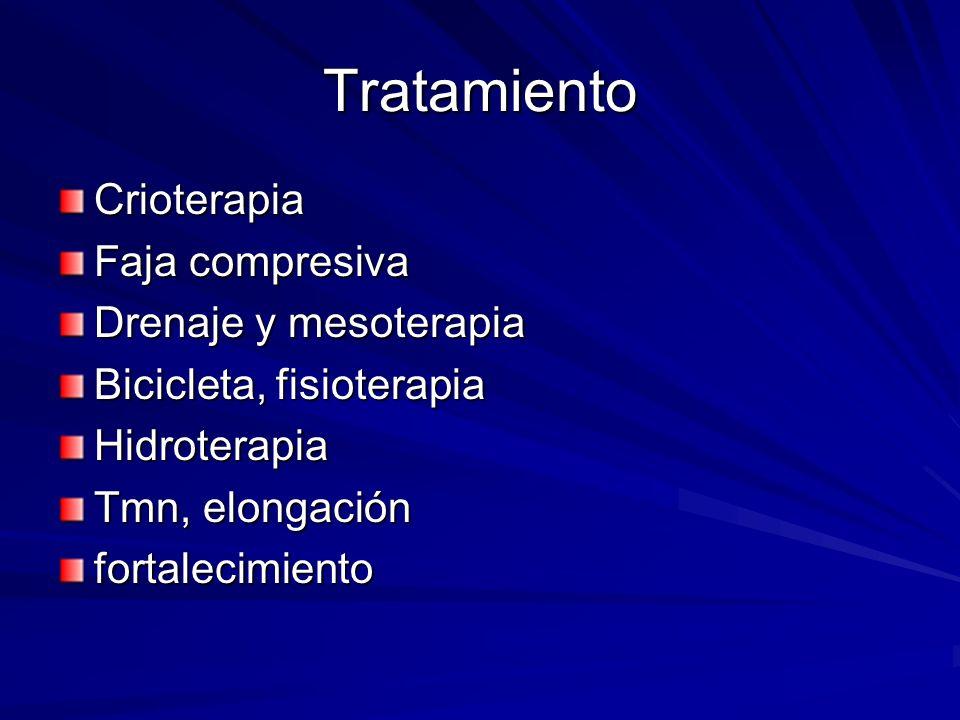 Tratamiento Crioterapia Faja compresiva Drenaje y mesoterapia Bicicleta, fisioterapia Hidroterapia Tmn, elongación fortalecimiento