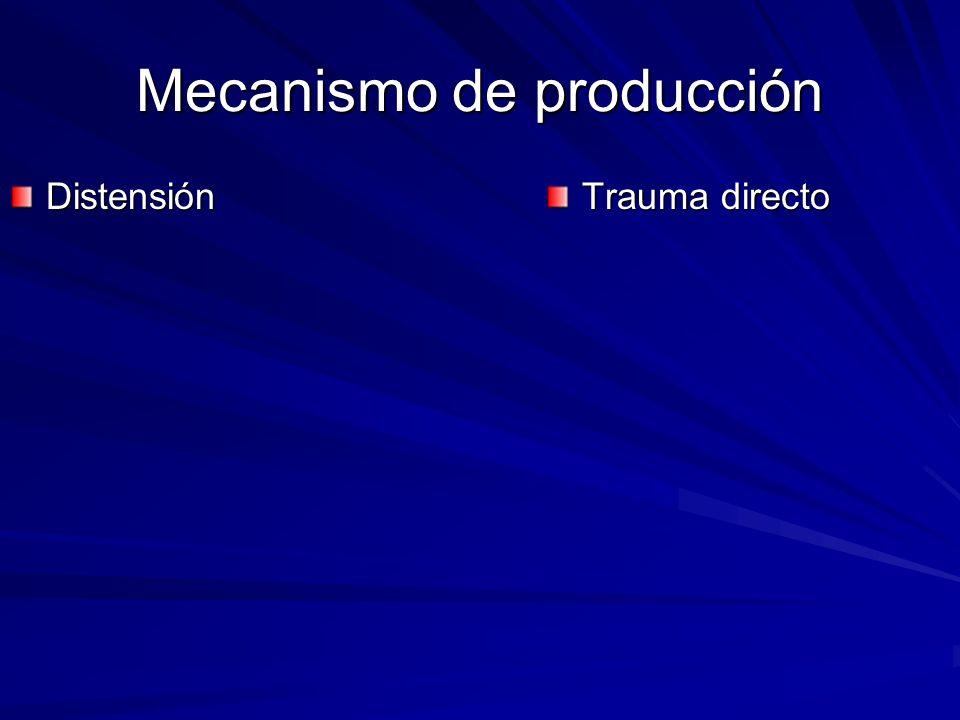 Mecanismo de producción Distensión Trauma directo