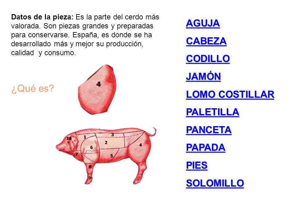 AGUJA CABEZA CODILLO JAMÓN LOMO COSTILLAR LOMO COSTILLAR PALETILLA PANCETA PAPADA PIES SOLOMILLO Datos de la pieza: Es la parte del cerdo más valorada