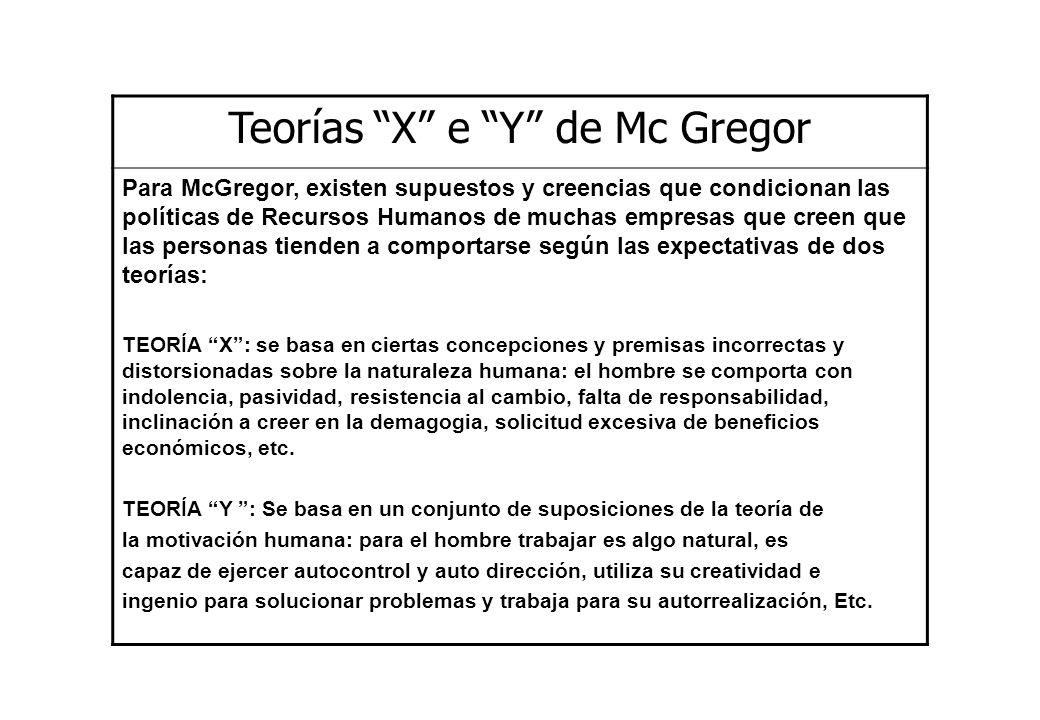 Teorías X e Y de Mc Gregor Para McGregor, existen supuestos y creencias que condicionan las políticas de Recursos Humanos de muchas empresas que creen