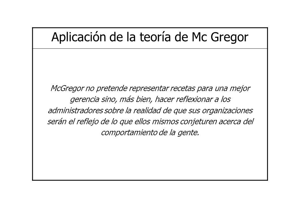 Aplicación de la teoría de Mc Gregor McGregor no pretende representar recetas para una mejor gerencia sino, más bien, hacer reflexionar a los administ