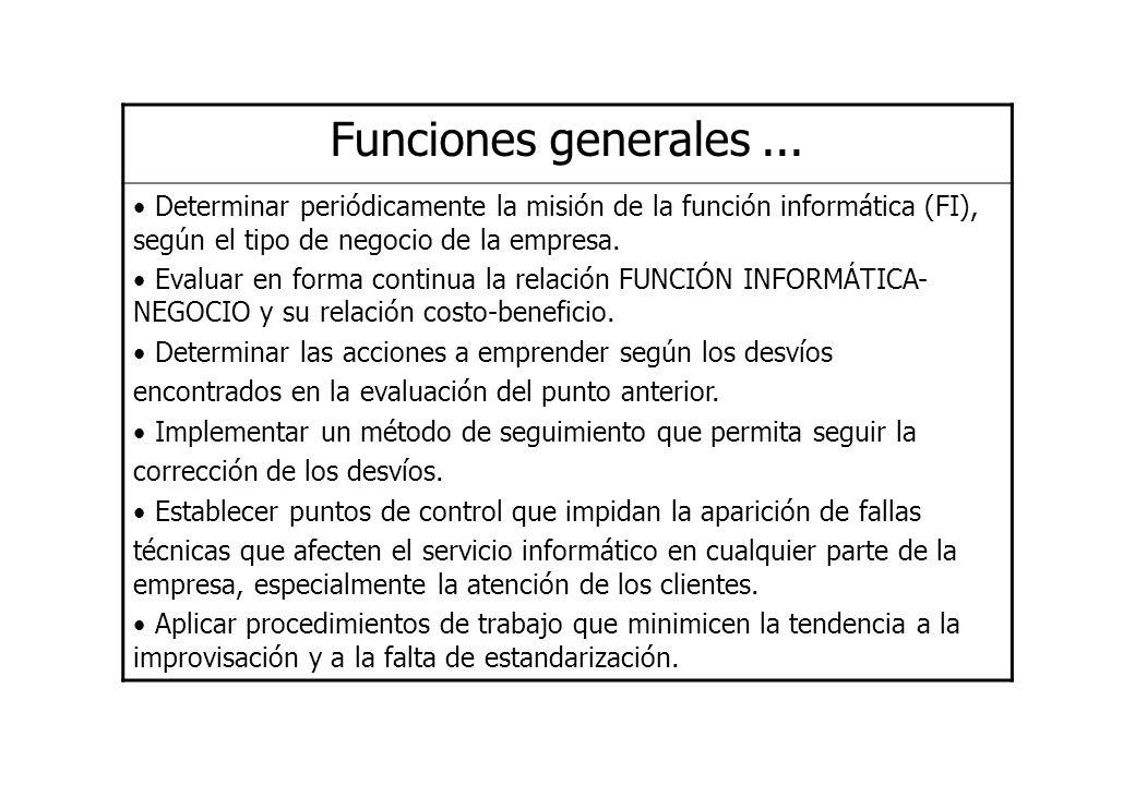 Funciones generales... Determinar periódicamente la misión de la función informática (FI), según el tipo de negocio de la empresa. Evaluar en forma co