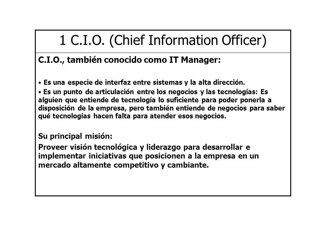 1 C.I.O. (Chief Information Officer) C.I.O., también conocido como IT Manager: Es una especie de interfaz entre sistemas y la alta dirección. Es un pu