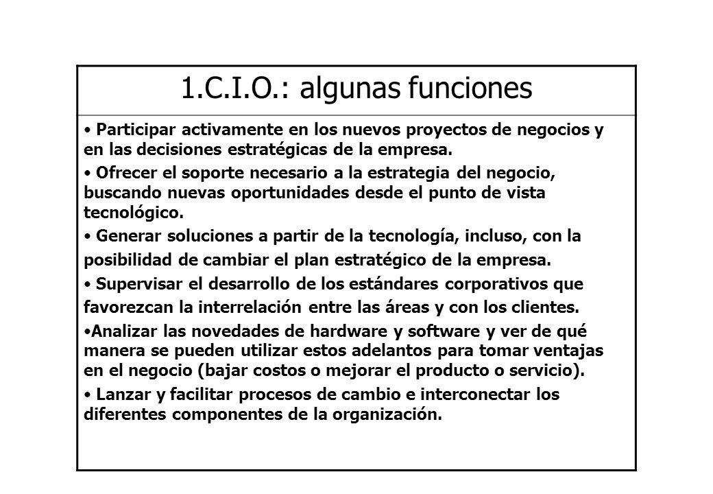 1.C.I.O.: algunas funciones Participar activamente en los nuevos proyectos de negocios y en las decisiones estratégicas de la empresa. Ofrecer el sopo
