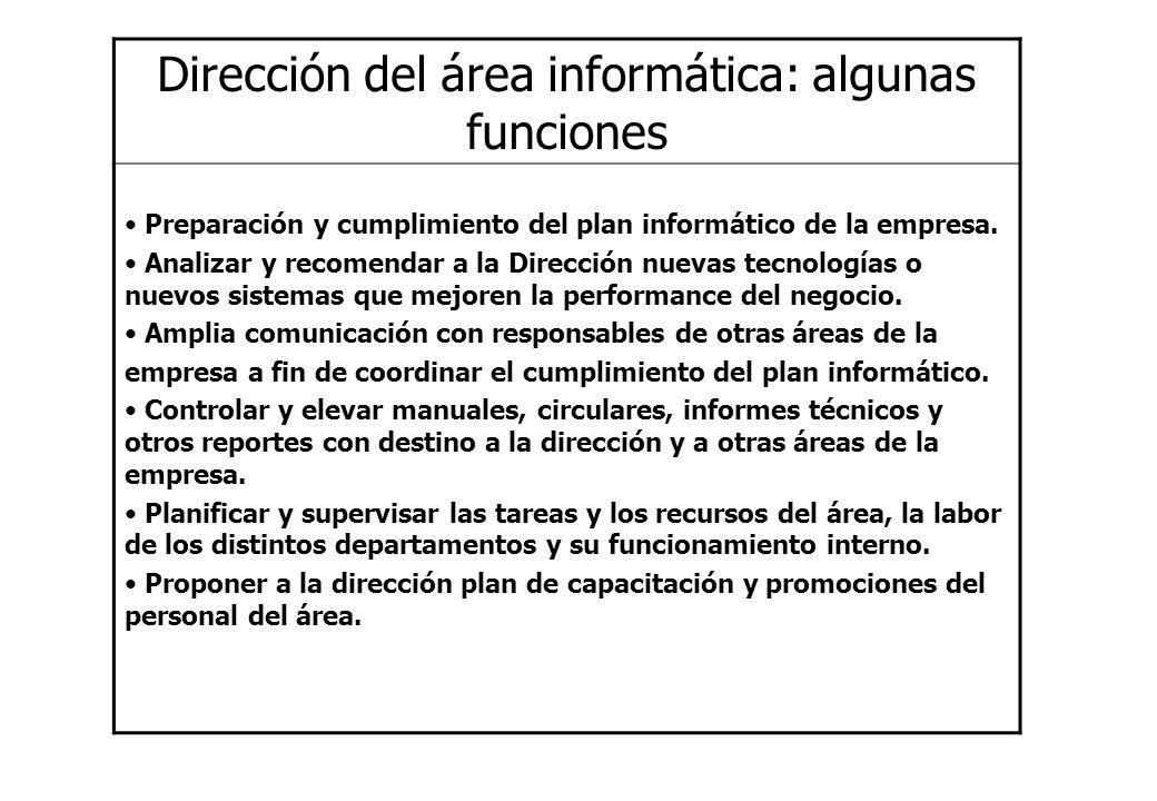 Dirección del área informática: algunas funciones Preparación y cumplimiento del plan informático de la empresa. Analizar y recomendar a la Dirección