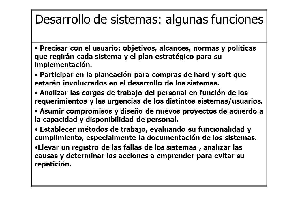 Desarrollo de sistemas: algunas funciones Precisar con el usuario: objetivos, alcances, normas y políticas que regirán cada sistema y el plan estratég
