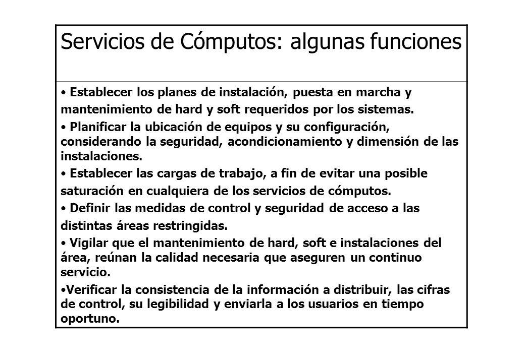 Servicios de Cómputos: algunas funciones Establecer los planes de instalación, puesta en marcha y mantenimiento de hard y soft requeridos por los sist