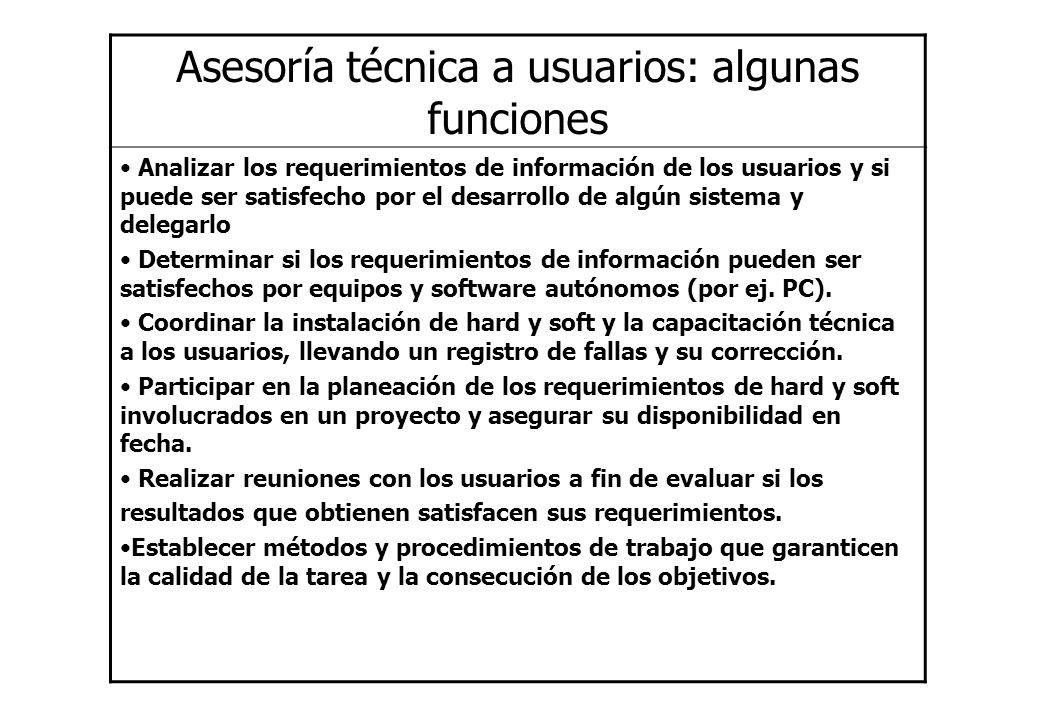 Asesoría técnica a usuarios: algunas funciones Analizar los requerimientos de información de los usuarios y si puede ser satisfecho por el desarrollo