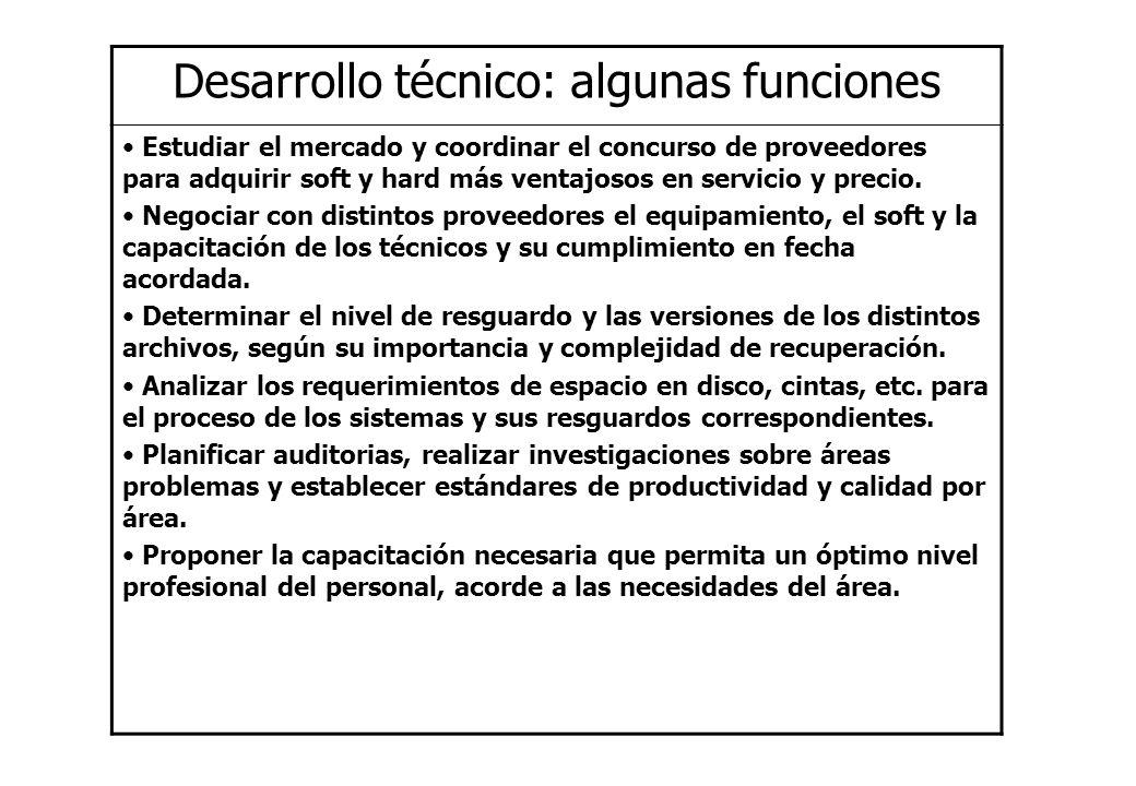 Desarrollo técnico: algunas funciones Estudiar el mercado y coordinar el concurso de proveedores para adquirir soft y hard más ventajosos en servicio