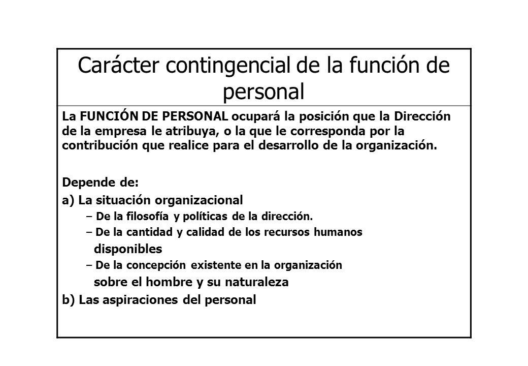 Carácter contingencial de la función de personal La FUNCIÓN DE PERSONAL ocupará la posición que la Dirección de la empresa le atribuya, o la que le co