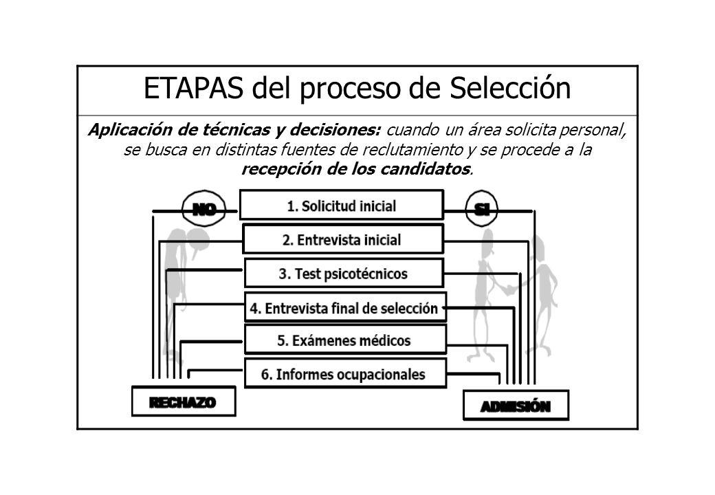 ETAPAS del proceso de Selección Aplicación de técnicas y decisiones: cuando un área solicita personal, se busca en distintas fuentes de reclutamiento