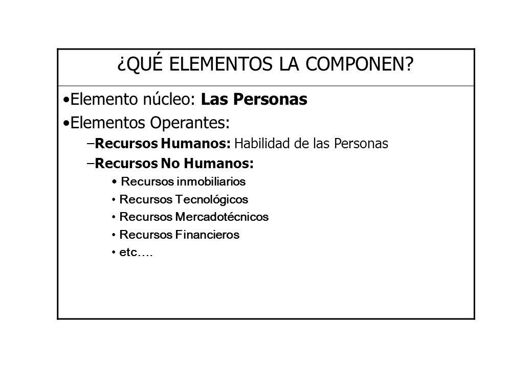 ¿QUÉ ELEMENTOS LA COMPONEN? Elemento núcleo: Las Personas Elementos Operantes: –Recursos Humanos: Habilidad de las Personas –Recursos No Humanos: Recu