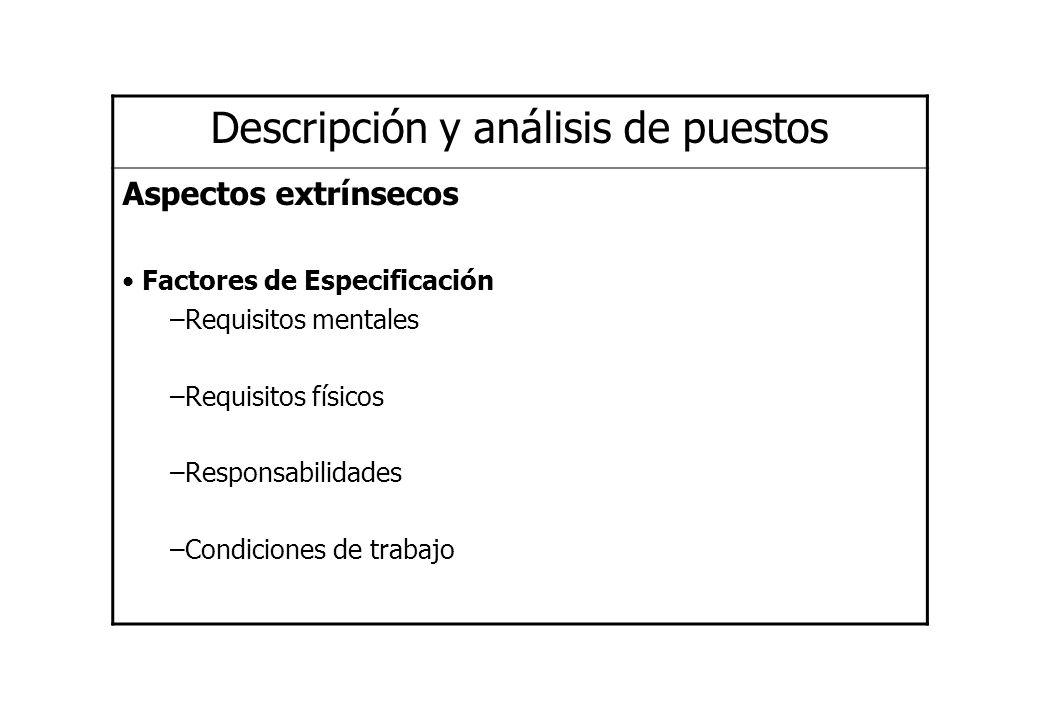 Descripción y análisis de puestos Aspectos extrínsecos Factores de Especificación –Requisitos mentales –Requisitos físicos –Responsabilidades –Condici