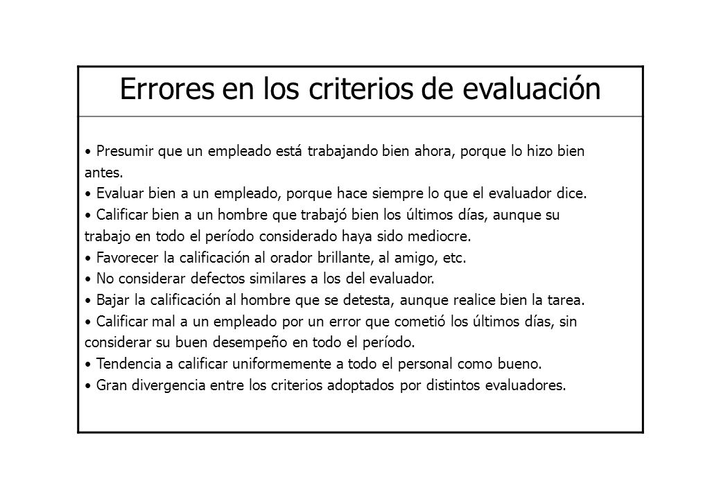 Errores en los criterios de evaluación Presumir que un empleado está trabajando bien ahora, porque lo hizo bien antes. Evaluar bien a un empleado, por