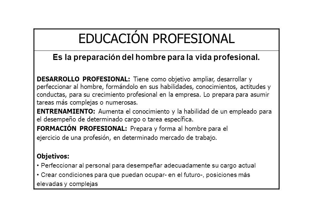 EDUCACIÓN PROFESIONAL Es la preparación del hombre para la vida profesional. DESARROLLO PROFESIONAL: Tiene como objetivo ampliar, desarrollar y perfec