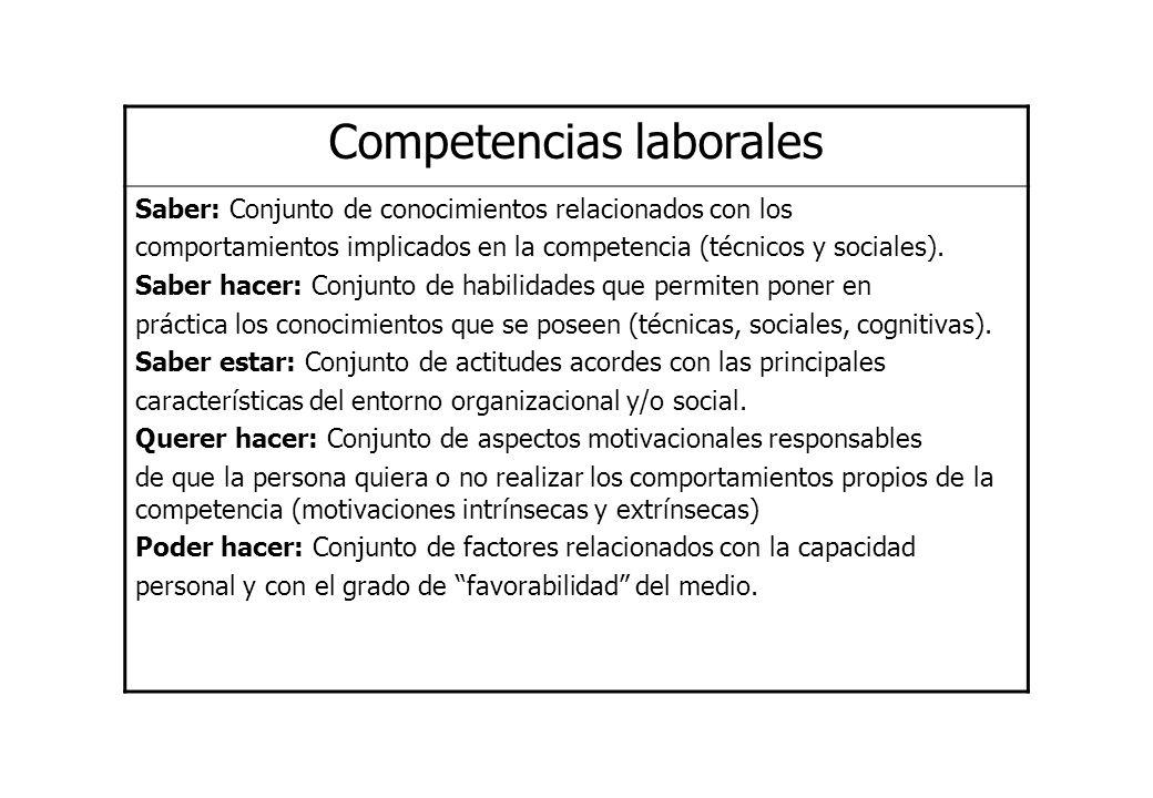 Saber: Conjunto de conocimientos relacionados con los comportamientos implicados en la competencia (técnicos y sociales). Saber hacer: Conjunto de hab