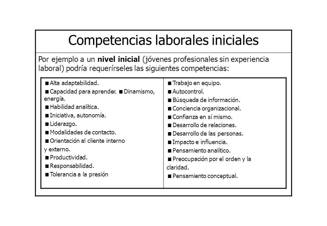 Competencias laborales iniciales Por ejemplo a un nivel inicial (jóvenes profesionales sin experiencia laboral) podría requerírseles las siguientes co