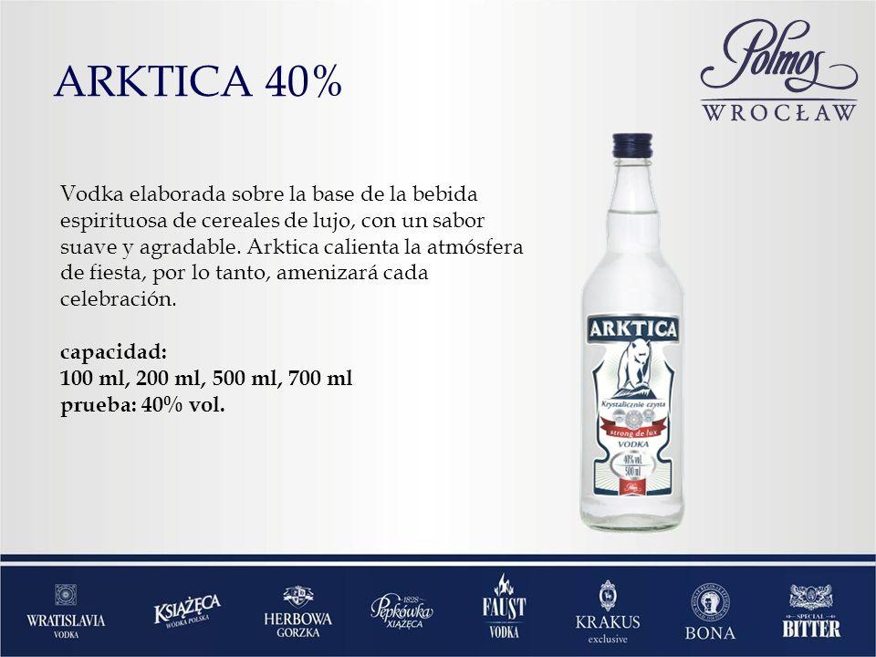 ARKTICA 40% Vodka elaborada sobre la base de la bebida espirituosa de cereales de lujo, con un sabor suave y agradable. Arktica calienta la atmósfera