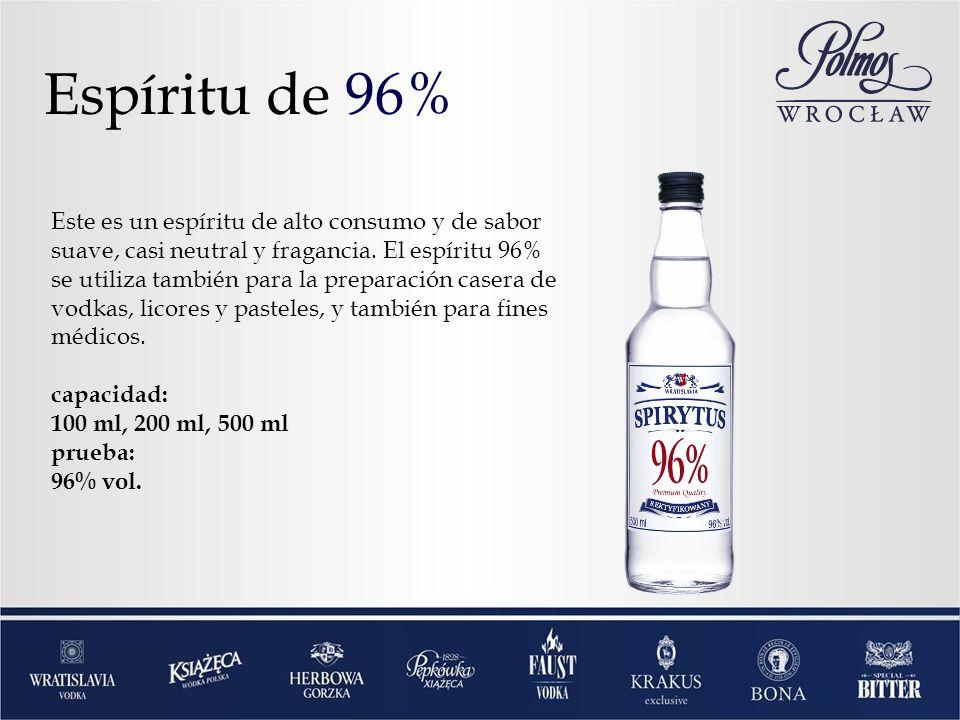 Espíritu de 96% Este es un espíritu de alto consumo y de sabor suave, casi neutral y fragancia. El espíritu 96% se utiliza también para la preparación